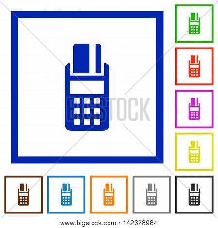 Set of color square framed POS terminal flat icons