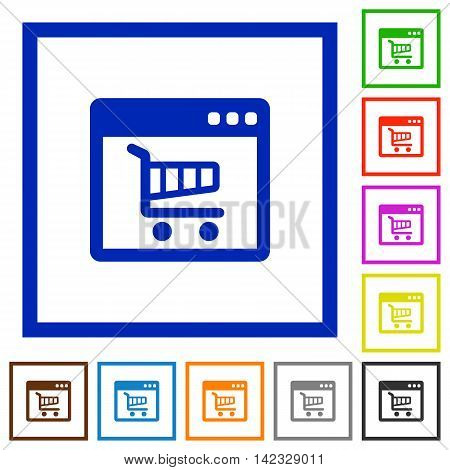Set of color square framed webshop application flat icons