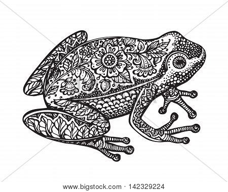 Black and white hand drawn ornate doodle frog in graphic style isolated on white background. Vector illustration with floral decorative ornament