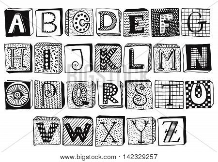 Hand drawn fancy alphabet on blocks, funny doodle letters. Vector set of Black and white letters, frames with different textures