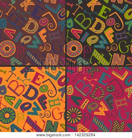 Set of four color variations seamless patterns with hand drawn fancy alphabet, funny doodle letters. Vector endless background with colorful letters with different textures