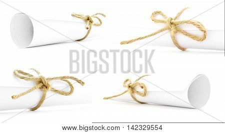 White paper scrolls tied with natural cords and nodes collection