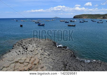 Vietnamese Natural Heritage Ganh Da Dia Sea With Fishing Boats
