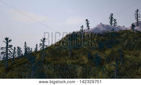 3d illustration of the prehistoric mountain landscape