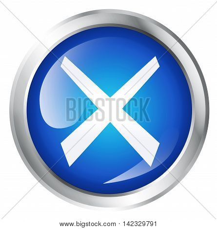 Glossy icon or button with cross symbol. 3D illustration