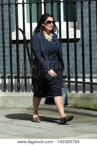 LONDON, UK, MAY 3, 2016: Priti Patel MP seen in Downing Street in London