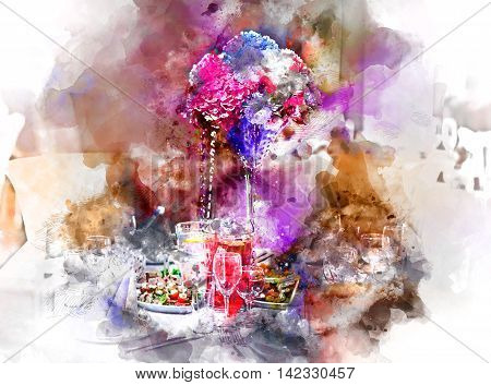 Luxury banquet table setting at restaurant. Digital watercolor painting