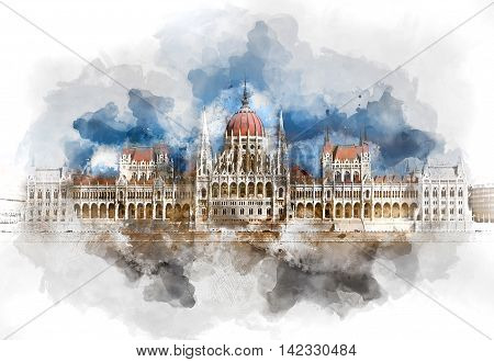 Digital watercolor painting of a Hungarian Parliament Building. Budapest Hungary.