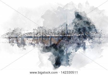Digital watercolor painting of a Railway bridge over the Daugava river. Riga Latvia