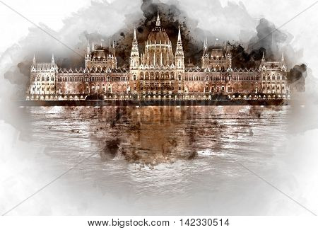 Digital watercolor painting of Hungarian Parliament Building at night. Budapest Hungary