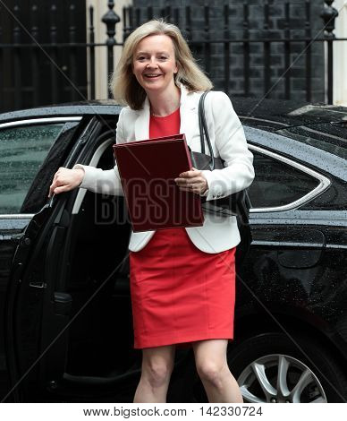LONDON, UK, JUN 14, 2016: Liz Truss arriving in Downing Street for the weekly cabinet meeting