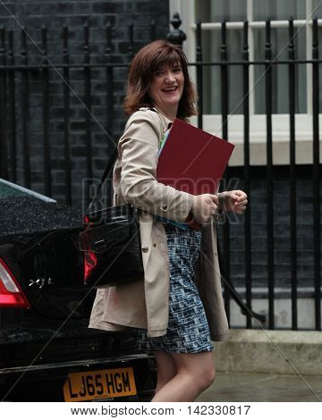 LONDON, UK, JUN 14, 2016: Nicky Morgan MP, arriving in Downing Street for the weekly cabinet meeting
