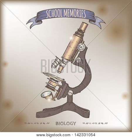 Color antique microscope hand drawn sketch placed on old paper background. School memories collection. Great for school, education, antique shop, retro design.