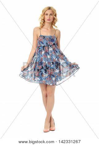 Fashion model wearing mixed sundress isolated on white