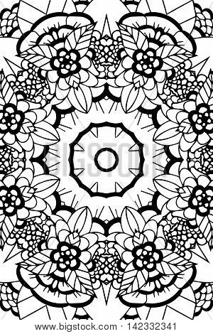 Mandala background. Round Ornament.. Coloring book for adults. Oriental zentangle pattern, vector illustration. Islam and Arabic and Indian and turkish and pakistan, and chinese, ottoman motifs.