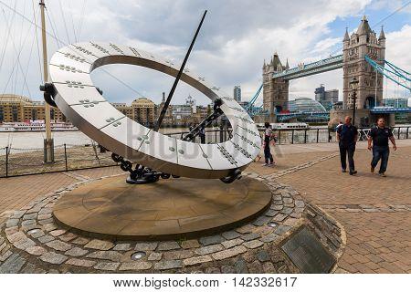 Giant Sundial Near The Tower Bridge In London, Uk