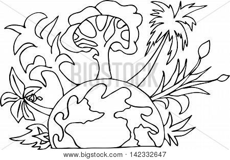 Eco friendly lifestyle concept. Go green eco poster. The planet Earth hand-drawn