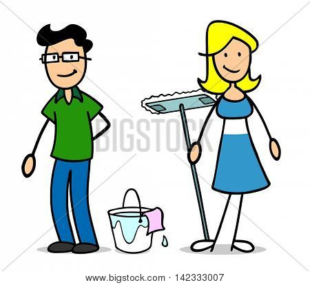 Cartoon couple or family doing cleaning with bucket