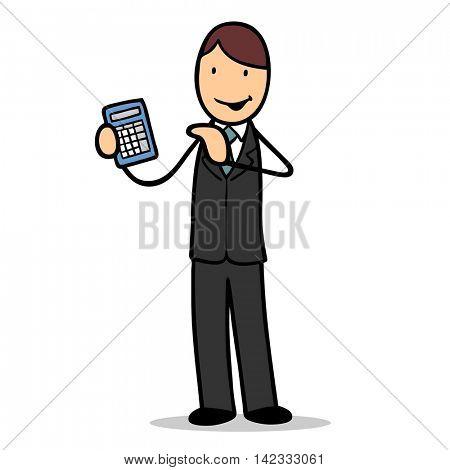 Cartoon businessman calculation salary with a calculator