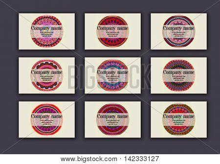 Vintage Business Visiting Cards Set. Ornamental Mandala, Ethnic Circle Decorative Elements .