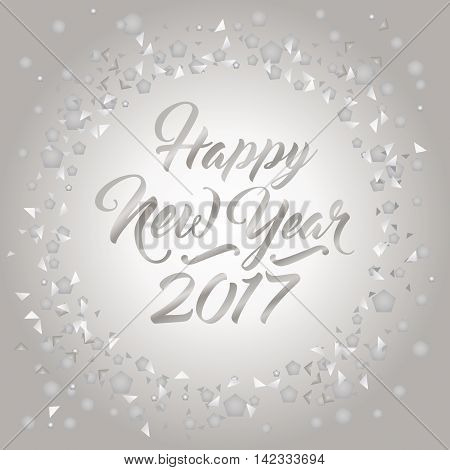 Happy New Year numerals encircled with silver abstract confetti