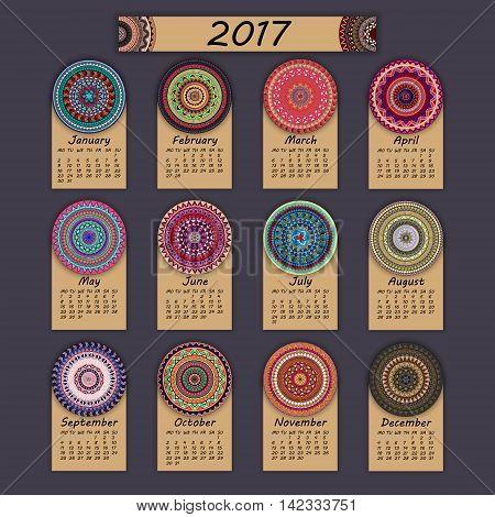 Calendar 2017. Vintage Decorative Colorful Elements. Ornamental Floral Oriental Pattern, Vector Illu