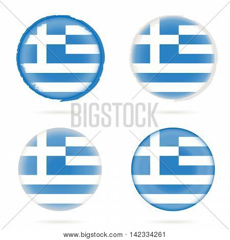 Greek Flag Icon Illustration In Colorful On White Background