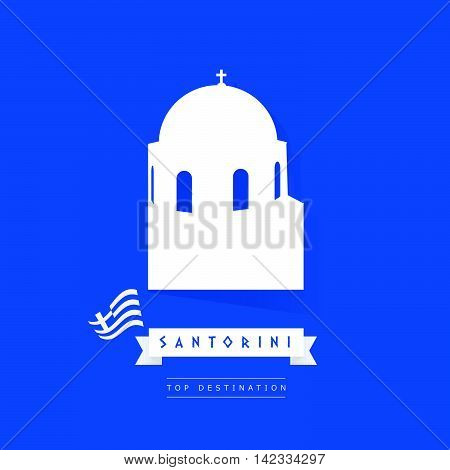 Greek Island Santorini Icon Illustration In White Color