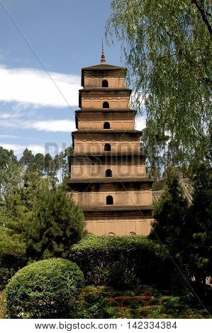 Kunming China - April 25 2006: Replica of Xi'an's Wild Goose Pagoda in the Tang Garden at the World Horti-Expo Garden Exhibition Park