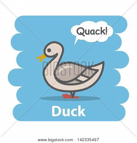 Duck vector illustration on isolated background.Cute Cartoon duck farm animal bird character speak Quack on a speech bubble.From the series what the say animals