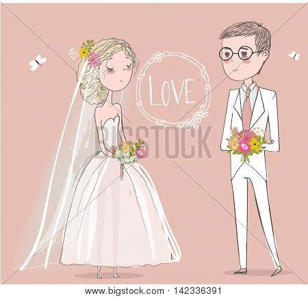 cute bride with cute groom. vector illustration
