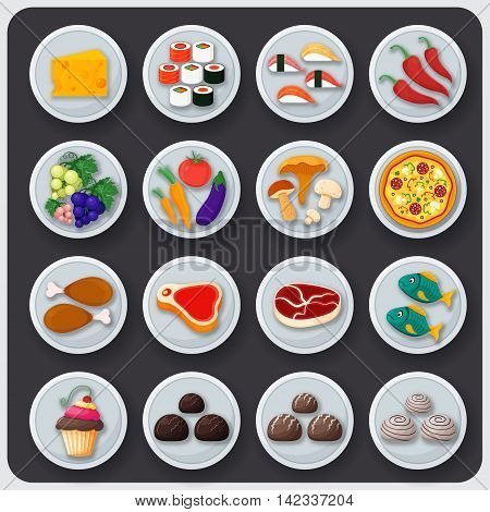 Dishes icon set. Food on the plates