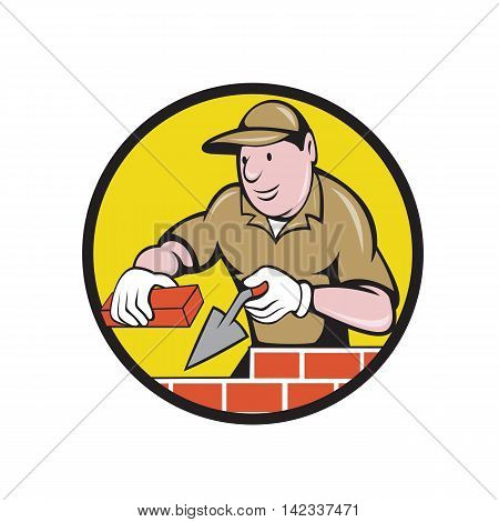 Illustration of a bricklayer mason plasterer construction worker at work holding brick and trowel set inside circle done in cartoon style.