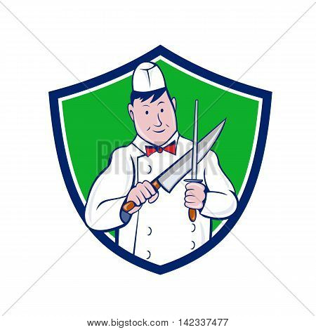 Illustration of a butcher cutter worker sharpening knife viewed from front set inside shield crest on isolated background done in cartoon style.