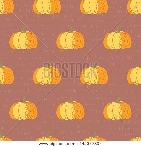 Pumpkins. vector seamless pattern. hand drawn illustration