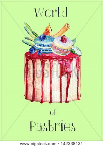 Cake with fig, blueberries, macaroons and drenched with frosting. Colorful watercolor illustration of cake.