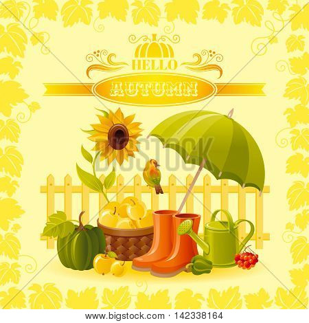 Vector illustration of autumn thanksgiving greeting card with holiday symbols on sunny background - pumpkin, umbrella parasol, rubber shoes, watering can, vineyard, modern elegant seasonal frame.