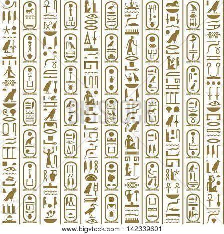 Ancient Egyptian hieroglyphic writing. Hieroglyphs and cartouches.