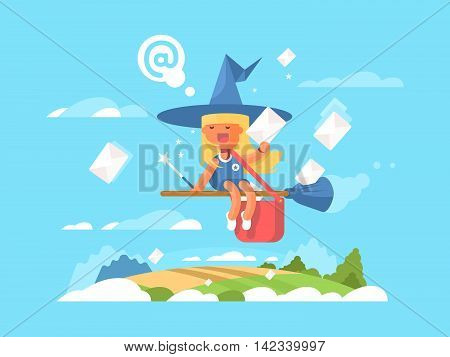 Postal fairy on a broom. Courier delivery mail in envelope, vector illustration