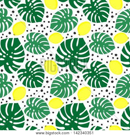 Seamless decorative background with yellow lemons and green palm leaves. Tropical monstera leaves pattern with lemons and dots. Trendy Jungle illustration. Design for textile, wallpaper, fabric etc.