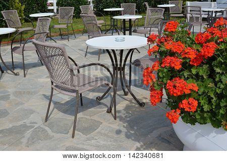 Outdoor cafe with colorful red geranium flowers