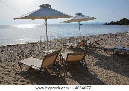 Sunbeds and umbrellas on a sandy beach Halkidiki Greece