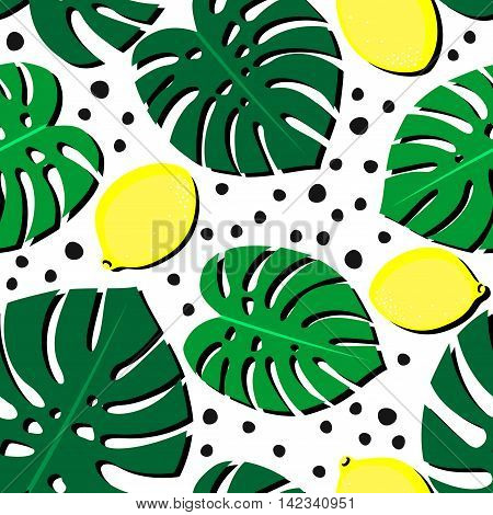 Seamless decorative background with yellow lemons and green palm leaves. Tropical leaves pattern with lemons and dots. Trendy Jungle illustration. Fashion design for textile, wallpaper, fabric etc.