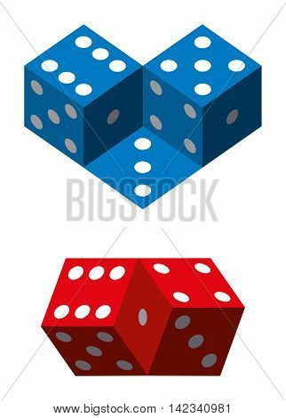 blue and red dice. Illustration on white background.
