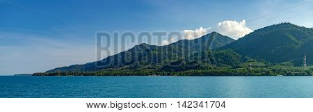 Beautiful scenery looking the islands from ferry in Thailand Tropical landscape over sea at Trat province Thailand