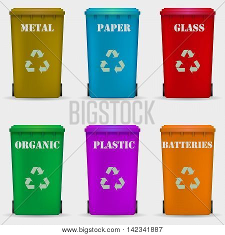 Different colored recycle waste bins vector illustration Waste types segregation recycling vector illustration. Organic batteries metal plastic paper glass waste. Vector illustration