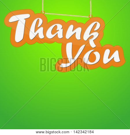 Thank you hanging sign isolated on green wall
