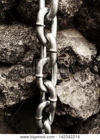 End Knot Of Steel Chain. Climbers Path Via Ferrata.