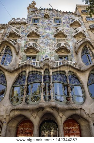 BARCELONA SPAIN - JULY 5 2016: The facade of the Casa Battlo (house of bones) designed by Antoni Gaudi