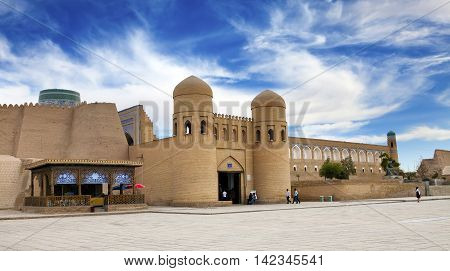 entrance gate in the ancient city wall. Uzbekistan. Khiva